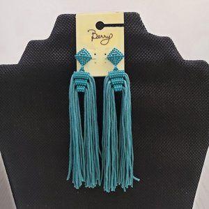 Berry Teal Blue Long Tassel Post Dangle Earrings